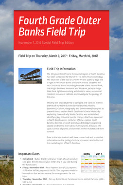 Fourth Grade Outer Banks Field Trip
