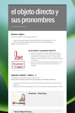 los objetos y sus pronombres
