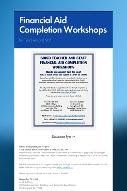 Financial Aid Completion Workshops