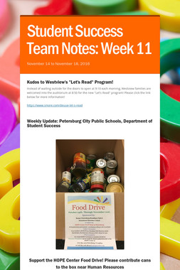 Student Success Team Notes: Week 11