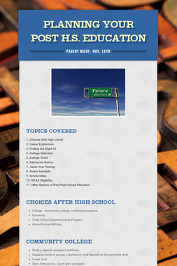 Planning Your Post H.S. Education
