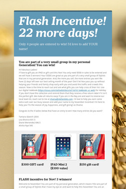 Flash Incentive! 22 more days!