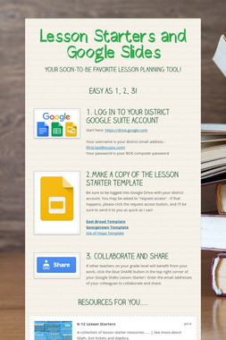Lesson Starters and Google Slides