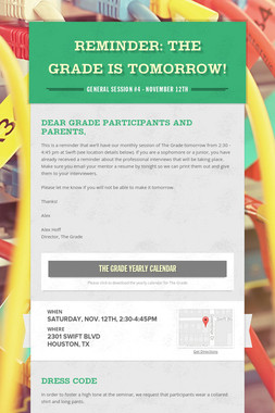Reminder: The Grade is Tomorrow!
