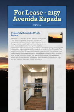 For Lease - 2157 Avenida Espada