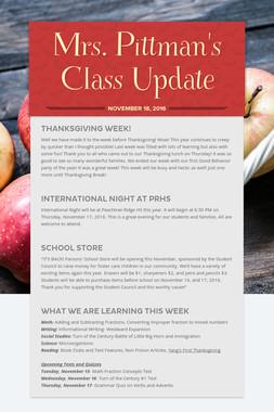 Mrs. Pittman's Class Update
