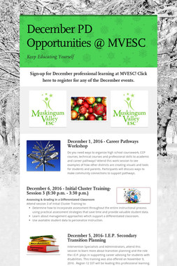 December PD Opportunities @ MVESC