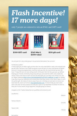 Flash Incentive! 17 more days!