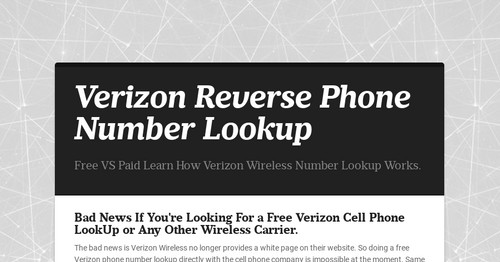 Verizon reverse phone number lookup