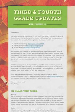 Third & Fourth Grade Updates