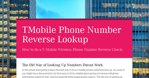 Tmobile Phone Number Reverse Lookup Smore Newsletters