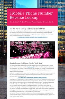 TMobile Phone Number Reverse Lookup