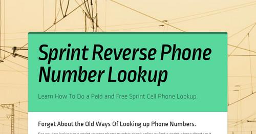 Sprint reverse phone lookup