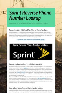 Sprint Reverse Phone Number Lookup