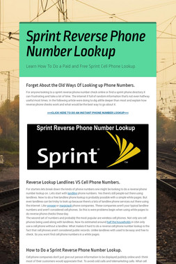 Sprint Reverse Phone Number Lookup