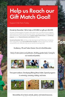 Help us Reach our Gift Match Goal!
