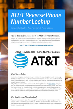 AT&T Reverse Phone Number Lookup