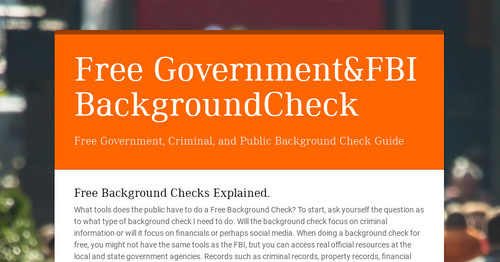 Free Public Criminal Record Check >> Free Government Fbi Backgroundcheck Smore Newsletters For Business