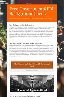 Free Government&FBI BackgroundCheck