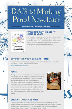 DAIS 1st Marking Period Newsletter