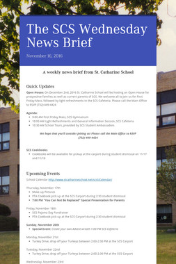 The SCS Wednesday News Brief