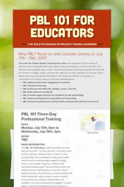 PBL 101 for Educators