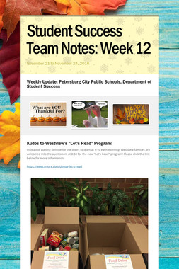 Student Success Team Notes: Week 12