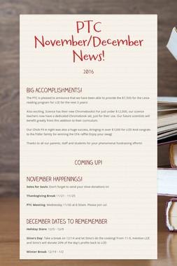 PTC November/December News!