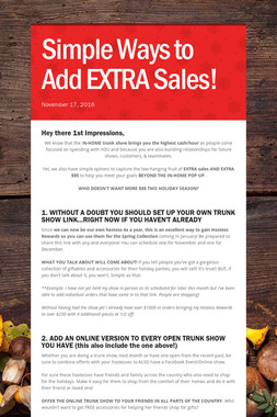 Simple Ways to Add EXTRA Sales!