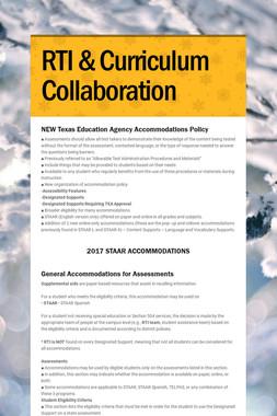 RTI & Curriculum Collaboration