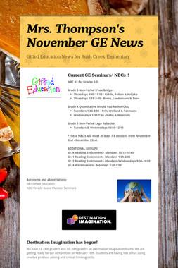 Mrs. Thompson's  November GE News