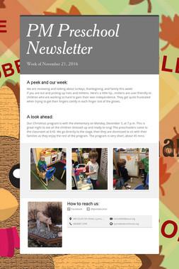 PM Preschool Newsletter