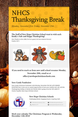 NHCS Thanksgiving Break