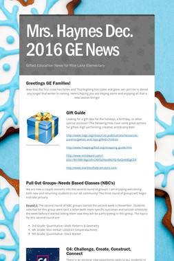 Mrs. Haynes Dec. 2016 GE News