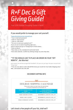 R+F Dec & Gift Giving Guide!