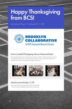 Happy Thanksgiving from BCS!