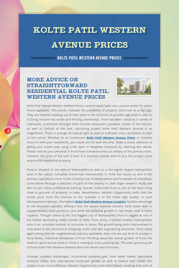 Kolte Patil Western Avenue Prices