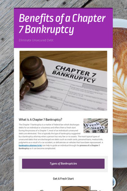 Benefits of a Chapter 7 Bankruptcy
