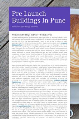 Pre Launch Buildings In Pune