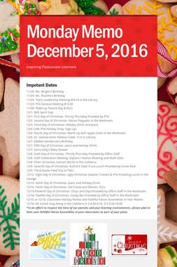Monday Memo December 5, 2016