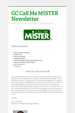 GC Call Me MISTER Newsletter