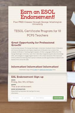 Earn an ESOL Endorsement!