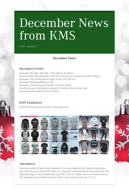 December News from KMS