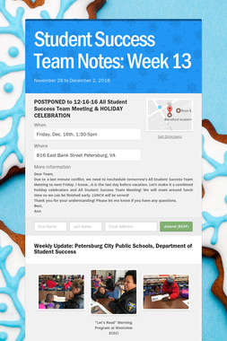 Student Success Team Notes: Week 13