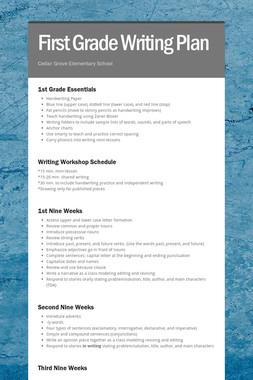 First Grade Writing Plan