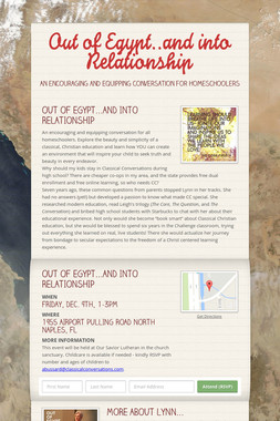 Out of Egypt..and into Relationship