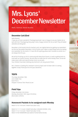 Mrs. Lyons' December Newsletter