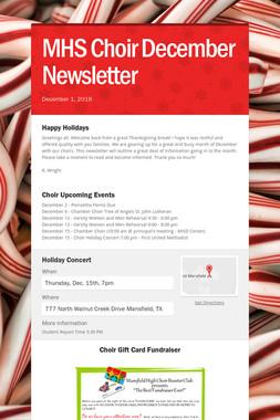 MHS Choir December Newsletter