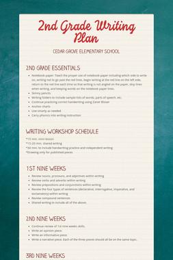 2nd Grade Writing Plan