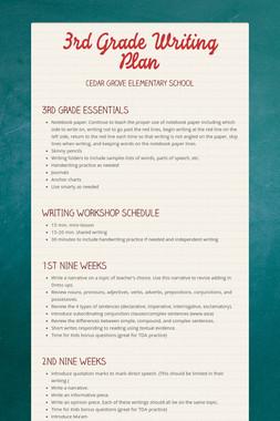 3rd Grade Writing Plan